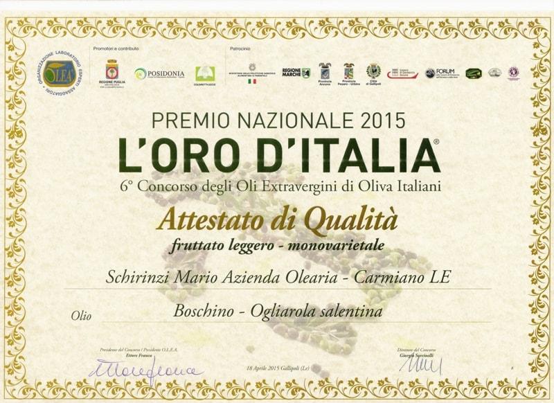 Menzione qualità oro d'Italia olio Boschino