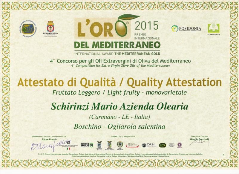 Menzione Oro del Mediterraneo 2015 per Olio Boschino
