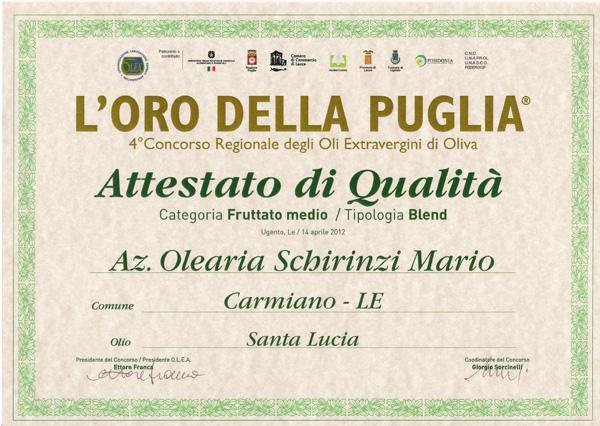 Oro della Puglia, menzioni di qualità olio