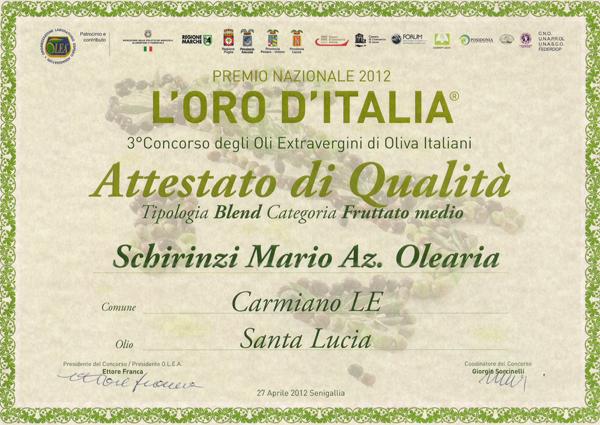 Oro d'Italia riconoscimenti qualita olio