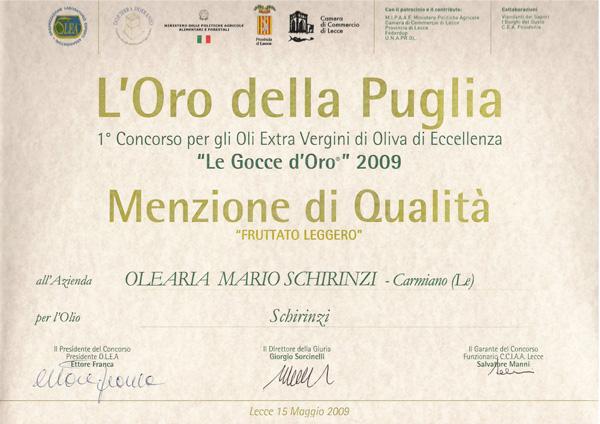 Menzione qualità olio Schirinzi anno 2009