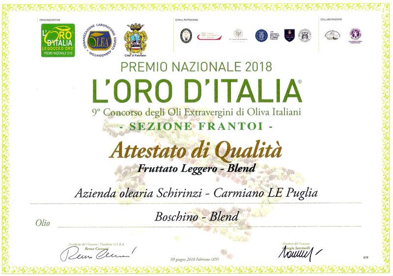 Attestato di qualità olio Boschino 2018 - sezione Frantoi - categoria Fruttato