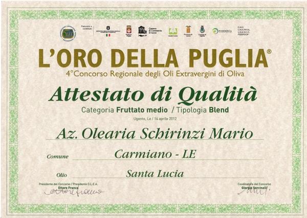 Premio oro della Puglia 2012 olio Schirinzi