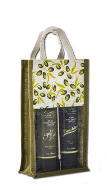 Bottiglie olio regalo in borsa in juta