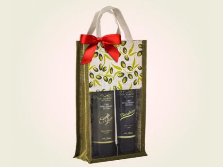 Borsa in juta due bottiglie olio extravergine di oliva salento