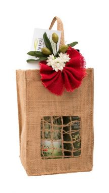 Sacchetto borsa juta con olive e fiori d'arancio