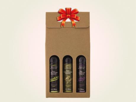 Valigetta regalo tre bottiglie mignon olio extravergine Schirinzi