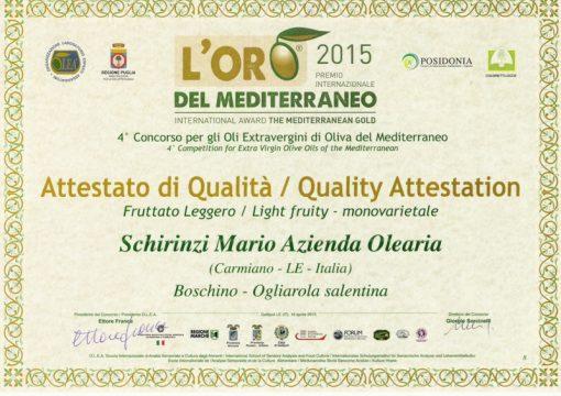 Menzione qualità Olio BOSCHINO 2015