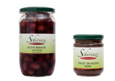 Produzione olive Leccine in salamoia e pate' di olive