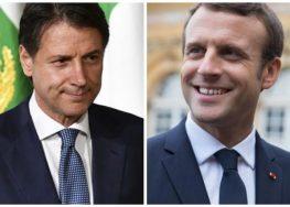 Il Presidente Italiano Conte omaggia a Macron olio pugliese