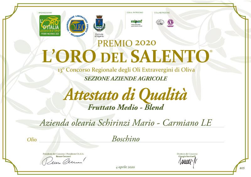 Premio Olio del Salento 2020 - Olio Schirinzi